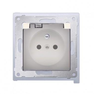 Gniazdo z/u z klapką transparentną IP44 SIMON 54 Premium - kremowy DGZ1BZ.01/41