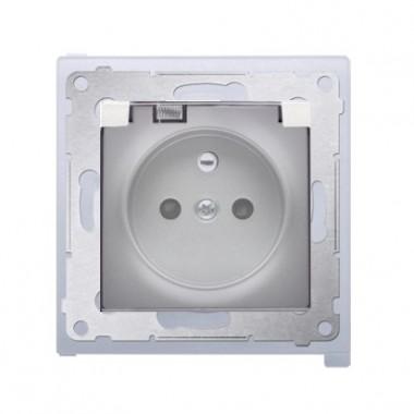 Gniazdo z/u z klapką transparentną IP44 SIMON 54 Premium - srebrny mat DGZ1BZ.01/43A