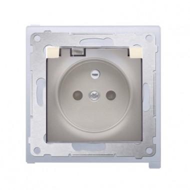 Gniazdo z/u z klapką transparentną IP44 SIMON 54 Premium - złoty mat DGZ1BZ.