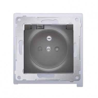Gniazdo z/u z klapką transparentną IP44 SIMON 54 Premium - antracyt DGZ1BZ.0