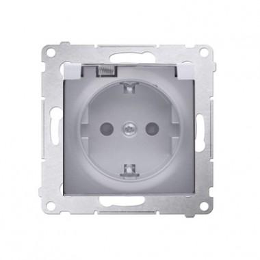 Gniazdo Schuko do wersji IP44 z przesłonami z uszczelką ramki (moduł) ~  klapka transparentna, srebrny mat DGSZ1BZ.01/43A