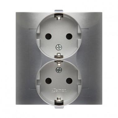 Gniazdo podwójne z/u Schuko monoblok SIMON 54 - srebrny mat, metalizowany DGSZ2Z/43
