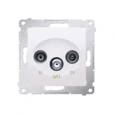Gniazdo antenowe R-TV-SAT przelotowe SIMON 54 biały DASP.01/11
