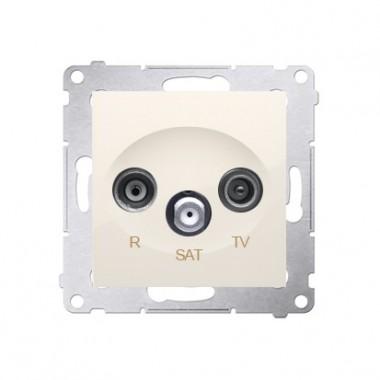 Gniazdo antenowe przelotowe R-TV-SAT SIMON 54 kremowy DASP.01/41