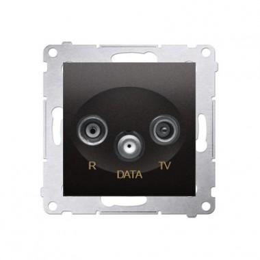 Gniazdo antenowe R-TV-DATA 10dB SIMON 54 - antracyt, metalizowany DAD.01/48