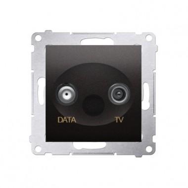 Gniazdo antenowe TV-DATA tłum.:5dB SIMON 54 - antracyt, metalizowany DAD1.01/48