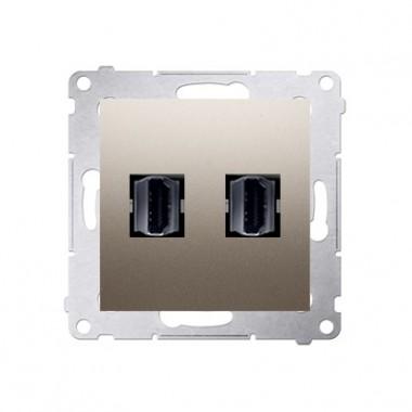 Gniazdo 2xHDMI SIMON 54 złoty mat DGHDMI2.01/44