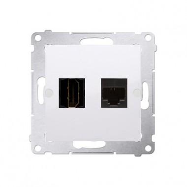 Gniazdo HDMI + RJ45 kat.6. SIMON 54 biały DGHRJ45.01/11