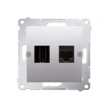 Gniazdo HDMI + RJ45 SIMON 54 srebrny DGHRJ45.01/43