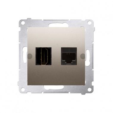 Gniazdo HDMI + RJ45 SIMON 54 złoty mat DGHRJ45.01/44