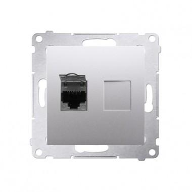 Gniazdo komputerowe 1xRJ45 kat. 6 SIMON 54 srebrny mat D61.01/43