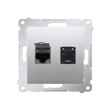 Gniazdo komputerowe 2xRJ45 kat. 6 SIMON 54 srebrny mat D62.01/43