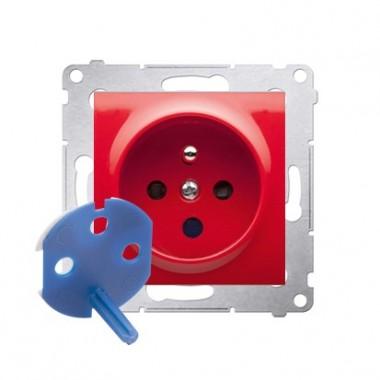 Gniazdo DATA z kluczem uprawniającym (moduł) ~  antybakteryjny czerwony DGD1.01/AB22