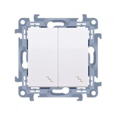 Łącznik schodowy podwójny z podświetleniem LED (moduł) 10AX, 250V~,  biały CW6/2L.01/11