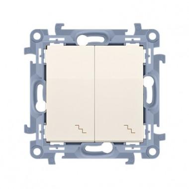 Łącznik schodowy podwójny z podświetleniem LED (moduł) 10AX, 250V~,  krem CW6/2L.01/41