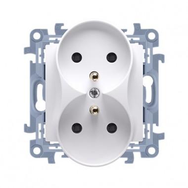 Gniazdo wtyczkowe z uziemieniem podwójne z przesłonami torów prądowych (moduł) ~  biały CGZ2MZ.01/11