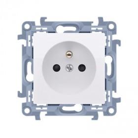 Gniazdo wtyczkowe z uziemieniem pojedyncze (moduł)   biały CGZ1.01/11