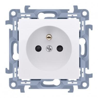Gniazdo wtyczkowe z uziemieniem pojedyncze z przesłonami torów prądowych (moduł) ~  biały CGZ1Z.01/11