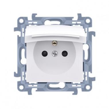 Gniazdo wtyczkowe do wersji IP44 z uszczelką - klapka w kolorze pokrywy (moduł) ~  biały CGZ1B.01/11