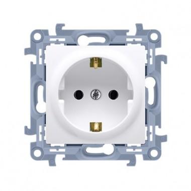 Gniazdo wtyczkowe Schuko pojedyncze z przesłonami torów prądowych (moduł) ~  biały CGSZ1Z.01/11