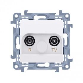 Gniazdo antenowe R-TV końcowe separowane (moduł) tłum. TV-1.0 dB, R-1,5 dB, biały CAK.01/11