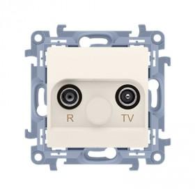 Gniazdo antenowe R-TV końcowe separowane (moduł) tłum. TV-1.0 dB, R-1,5 dB, krem CAK.01/41