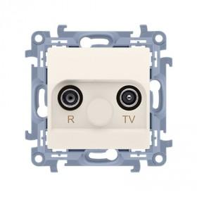 Gniazdo antenowe R-TV zakończeniowe do gniazd przelotowych (moduł) tłum. TV-10 dB, R-11 dB, krem CAZ.01/41