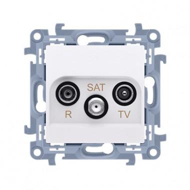 Gniazdo antenowe R-TV-SAT końcowe / zakończeniowe do gniazda przelotowego (moduł) tłum. R, TV, SAT - 1.5 dB, biały CASK.01/11