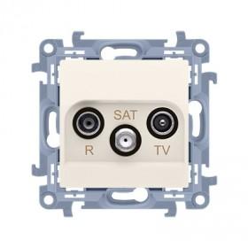 Gniazdo antenowe R-TV-SAT końcowe / zakończeniowe do gniazda przelotowego (moduł) tłum. R, TV, SAT - 1.5 dB, krem CASK.01/41