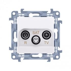 Gniazdo antenowe R-TV-SAT przelotowe (moduł) tłum.SAT -8 dB, TV-10 dB, R-12 dB, biały CASP.01/11