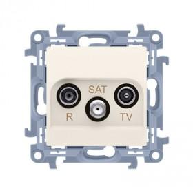 Gniazdo antenowe R-TV-SAT przelotowe (moduł) tłum.SAT -8 dB, TV-10 dB, R-12 dB, krem CASP.01/41