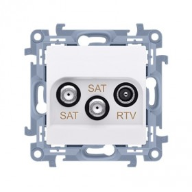 Gniazdo antenowe satelitarne podwójne SAT-SAT-RTV (moduł). Tłum: SAT 1-0.5 dB, SAT 2-1.5 dB, RTV-0.5 dB, biały CASK2.01/11