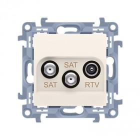 Gniazdo antenowe satelitarne podwójne SAT-SAT-RTV (moduł). Tłum: SAT 1-0.5 dB, SAT 2-1.5 dB, RTV-0.5 dB, krem CASK2.01/41