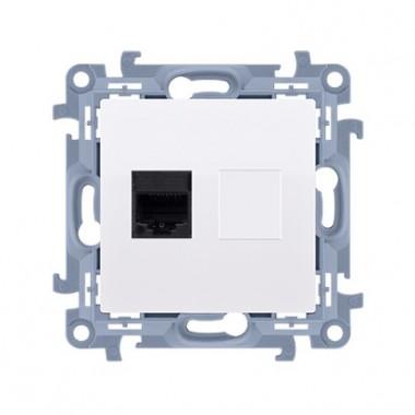 Gniazdo komputerowe pojedyncze RJ45 kategoria 5e (moduł), biały C51.01/11