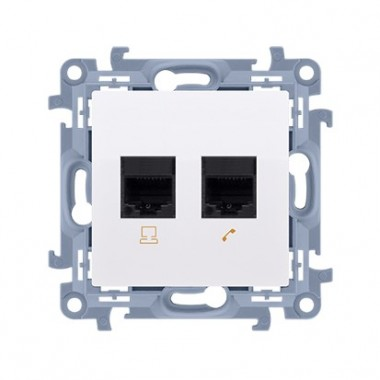 Gniazdo telefoniczne podwójne RJ11 (moduł), biały CT2.01/11