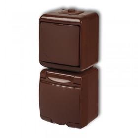 Łącznik schodowy z gniazdem hermetycznym (klapka brązowa, przesłony torów prądowych) Karlik JUNIOR 4WGHP-3p brązowy