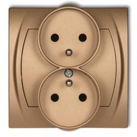 Gniazdo podwójne do ramki 2x(2P+Z) (przesłony torów prądowych) Karlik LOGO 8LGPR-2zp złoty metalik