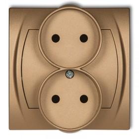 Gniazdo podwójne do ramki 2x2P (przesłony torów prądowych) Karlik LOGO 8LGPR-2p złoty metalik