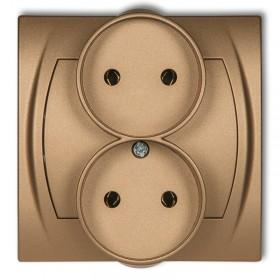 Gniazdo podwójne do ramki 2x2P (bez przesłon) Karlik LOGO 8LGPR-2 złoty metalik