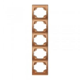 Ramka pionowa pięciokrotna Karlik LOGO 8LRV-5 złoty metalik