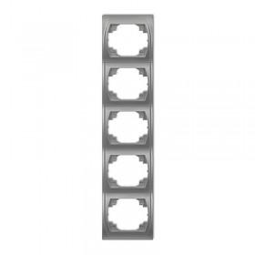 Ramka pionowa pięciokrotna Karlik LOGO 7LRV-5 srebrny metalik