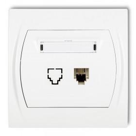 Gniazdo telefoniczne pojedyncze 1xRJ11, 4-stykowy Karlik LOGO LGT-1 biały