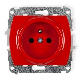 Mechanizm gniazda pojedynczego 2P+Z DATA bez klucza (przesłony torów prądowych) Karlik TREND GBK czerwony