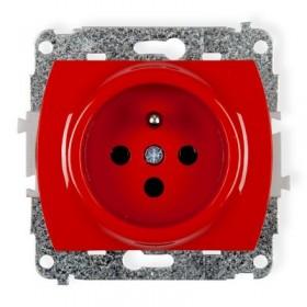 Mechanizm gniazda pojedynczego 2P+Z DATA z kluczem Karlik TREND GZK czerwony