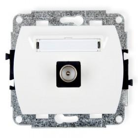 Mechanizm gniazda antenowego pojedynczego TV  Karlik TREND GTV-1 biały