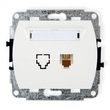 Mechanizm gniazda telefonicznego pojedynczego 1xRJ11, 4-stykowy Karlik TREND GT-1 biały