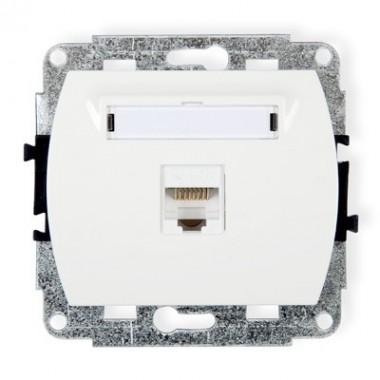 Mechanizm gniazda komputerowego pojedynczego 1xRJ45, kat. 5e, ekranowane, 8-stykowy Karlik TREND GK-1e biały