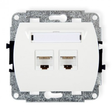 Mechanizm gniazda komputerowego podwójnego 2xRJ45, kat. 5e, 8-stykowy Karlik TREND GK-2 biały