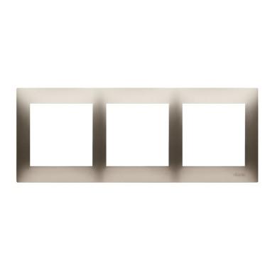 Ramka 3-krotna PREMIUM do puszek karton-gips IP20 / IP44, złoty mat DRK3/44