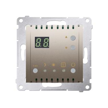 Regulator temperatury z wyświetlaczem z czujnikiem wewnętrznym (moduł) 16(2) A, 230V~, złoty mat DTRNW.01/44